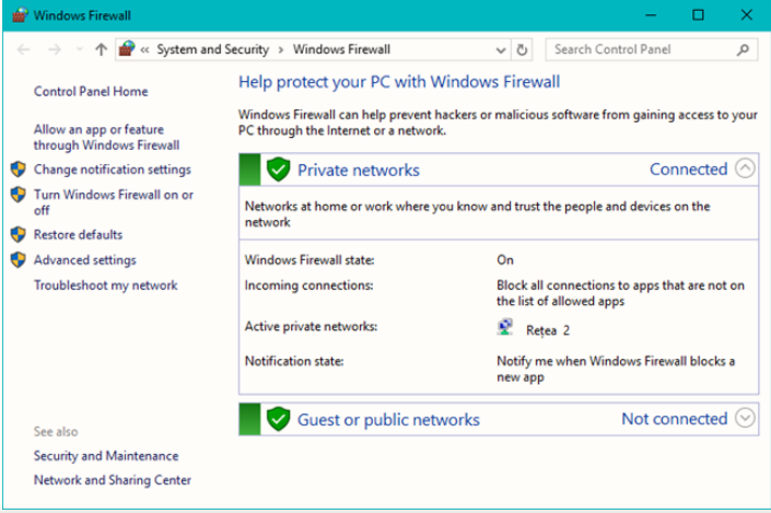 which of the following type of network is not available in windows firewall in windows 10