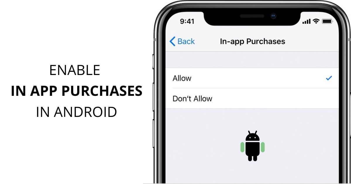 how to enable in app purchases in settings android