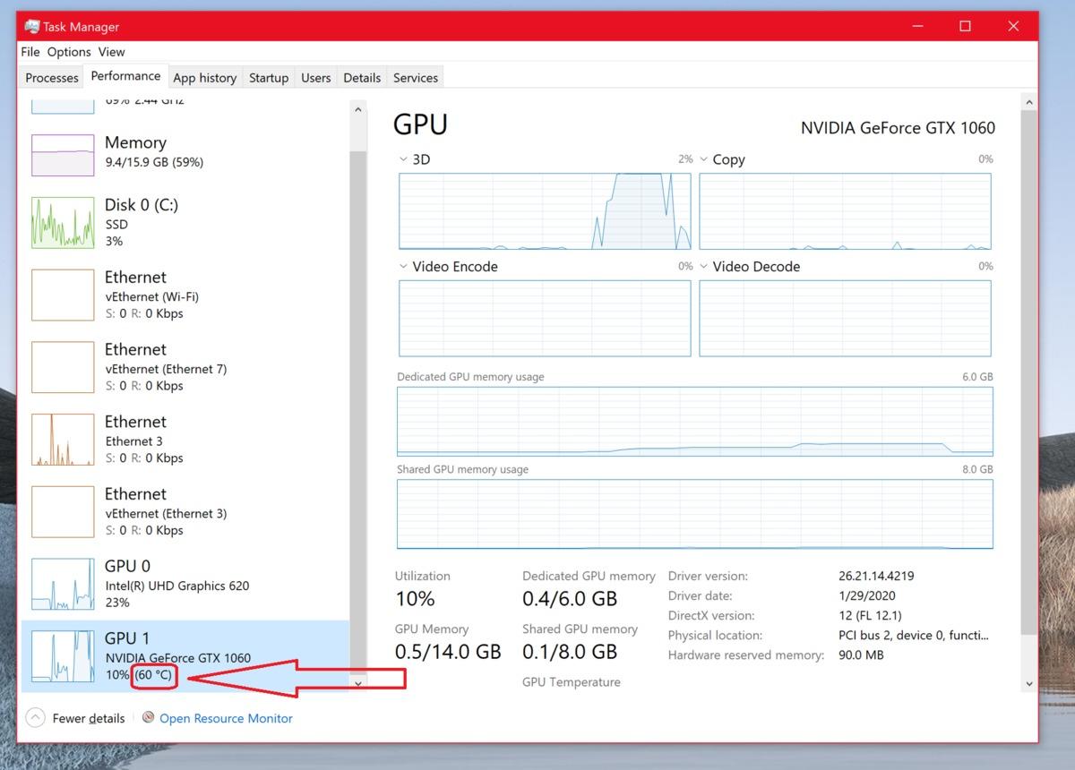 how to see gpu temp windows 10