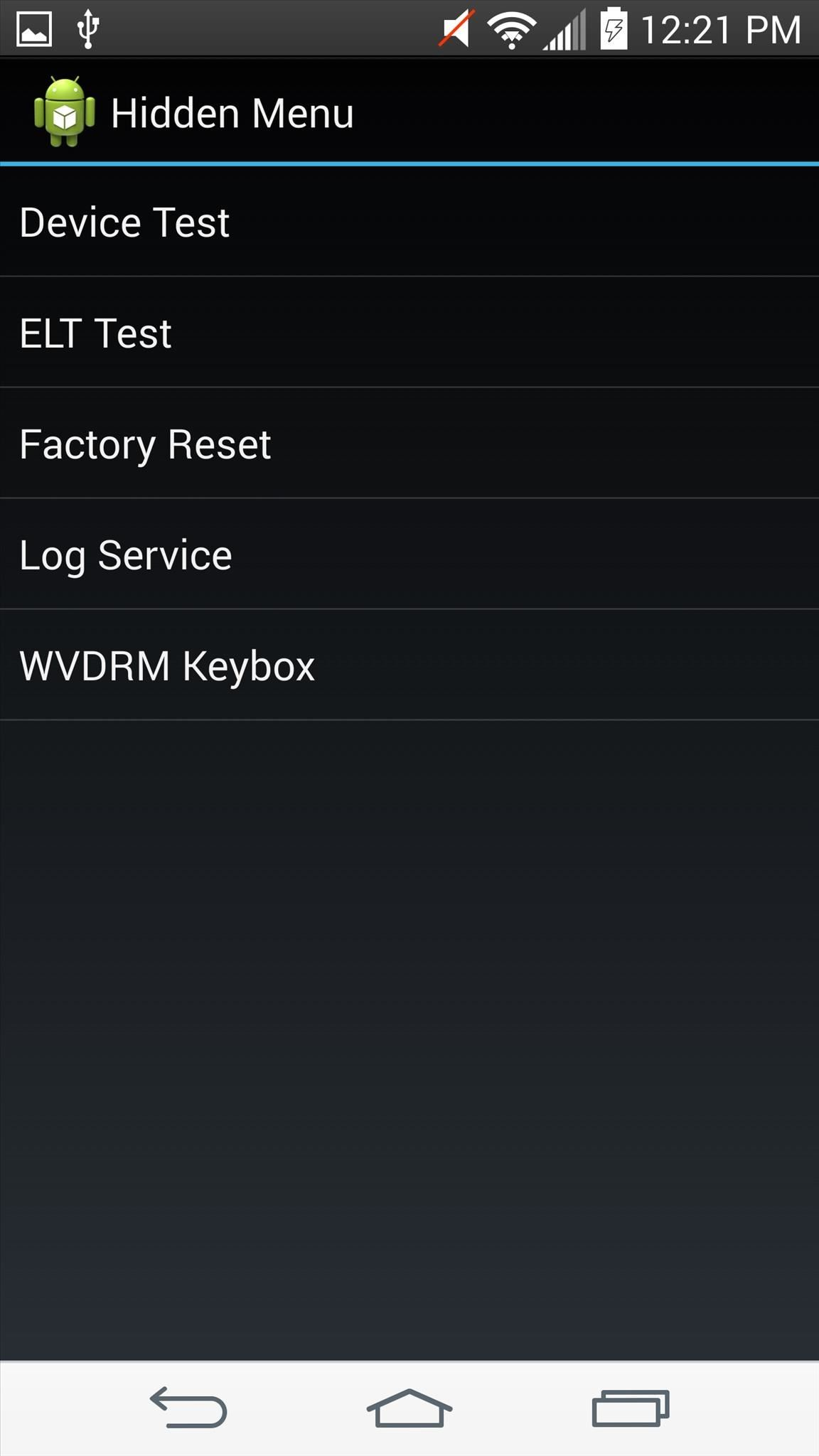 what is iot hidden menu on my android phone