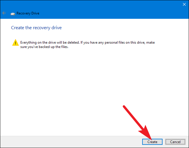 how to create a recovery partition windows 10